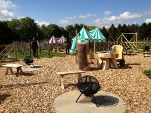 Family seating area with barbeque pits