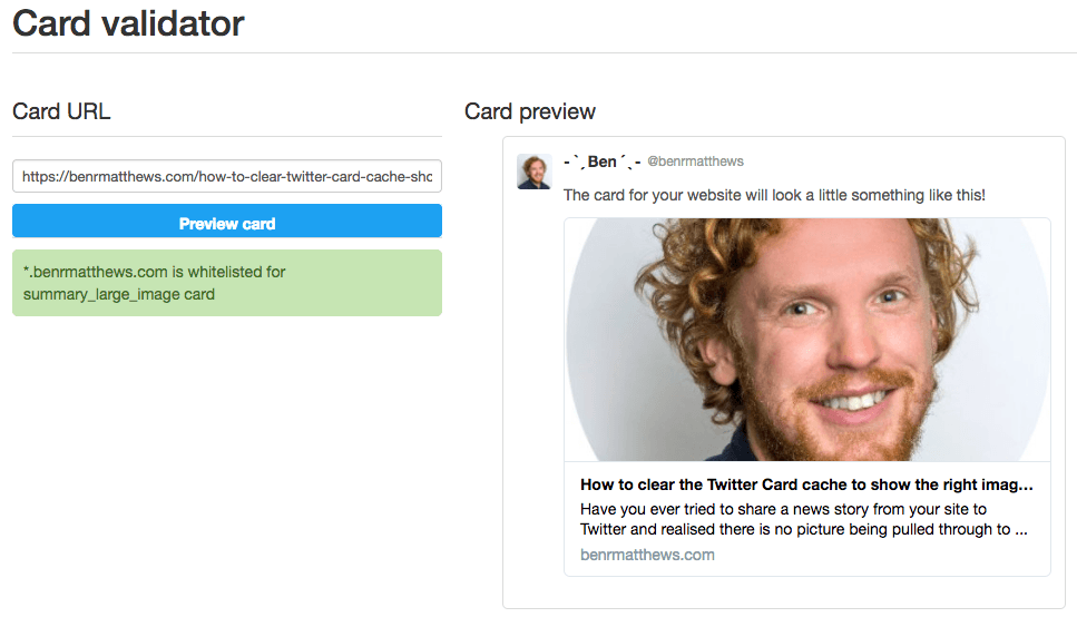 Twitter Card preview showing old image